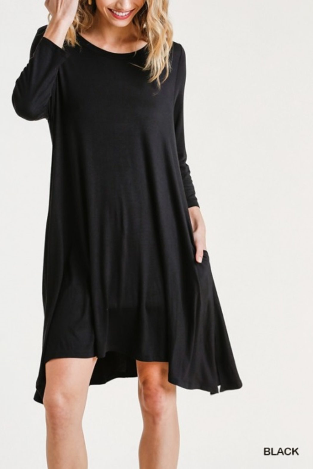umgee  Round Neck 3/4 Sleeve Dress with Side Slits - Front Cropped Image
