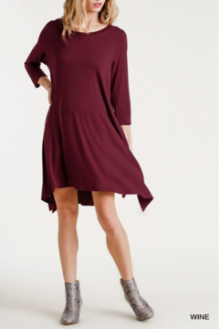 Shoptiques Product: Round Neck 3/4 Sleeve Dress with Side Slits