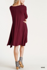 umgee  Round Neck 3/4 Sleeve Dress with Side Slits - Back cropped