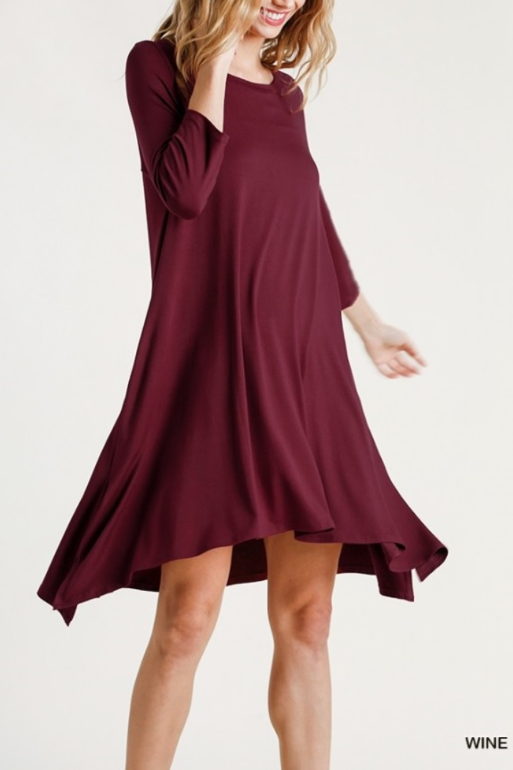 umgee  Round Neck 3/4 Sleeve Dress with Side Slits - Front Full Image