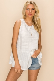 Hem and Thread Round Neck Baby Doll Tank Top - Product Mini Image