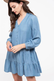 Blu Pepper Round Neck Bound Key Hole Chambray Dress - Product Mini Image