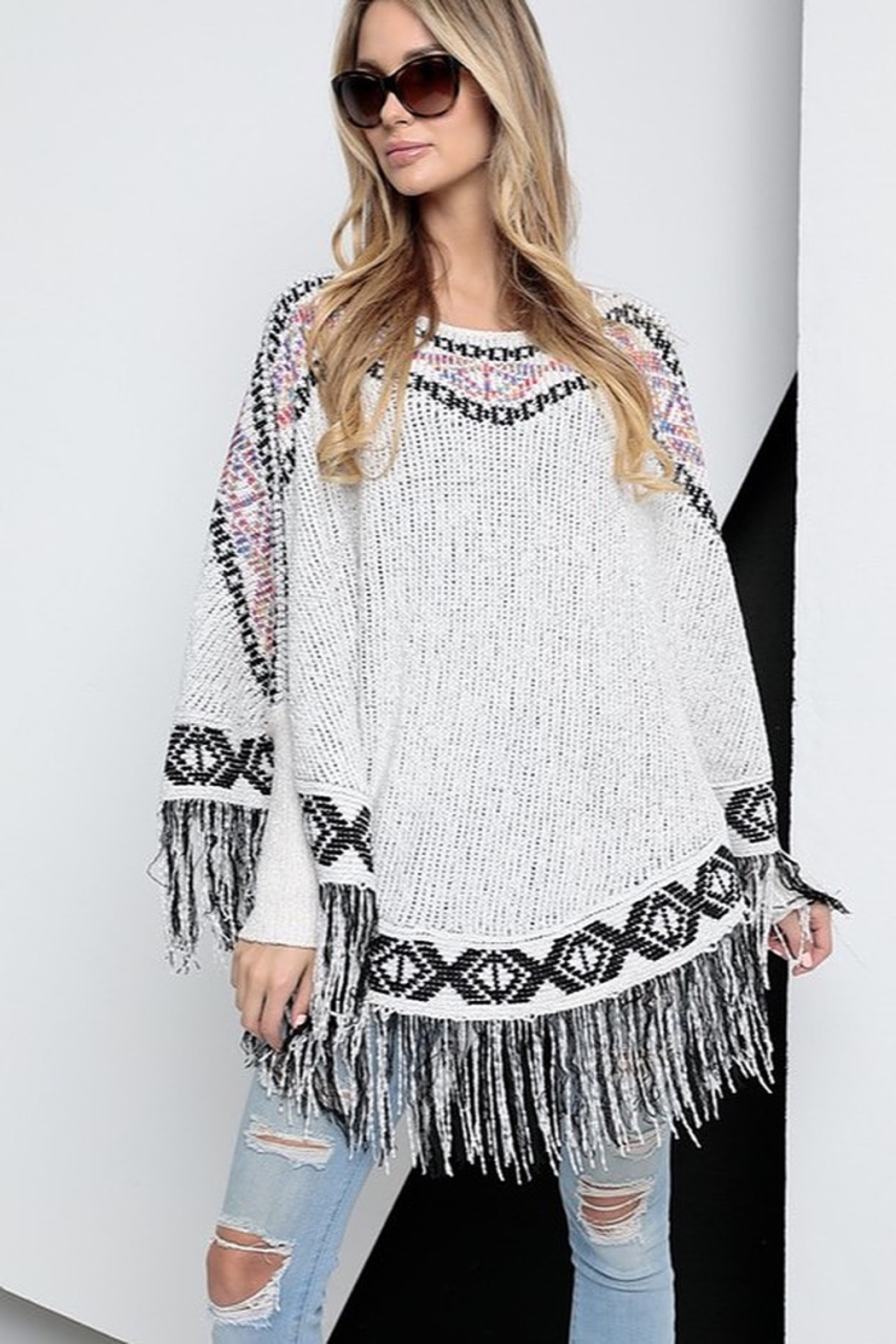Spotlite Round Neck Fringe Bottom Poncho Top - Front Full Image