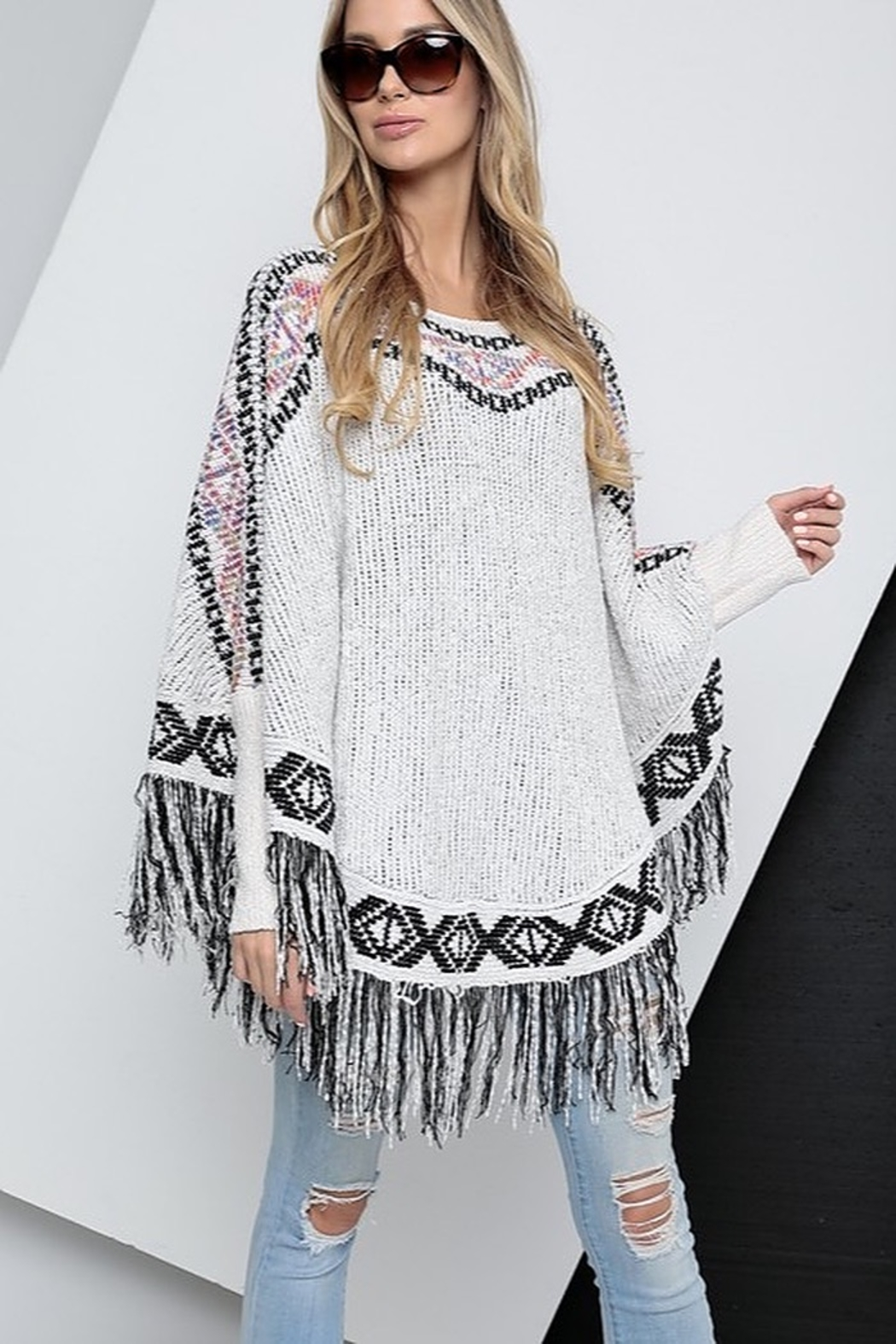 Spotlite Round Neck Fringe Bottom Poncho Top - Main Image