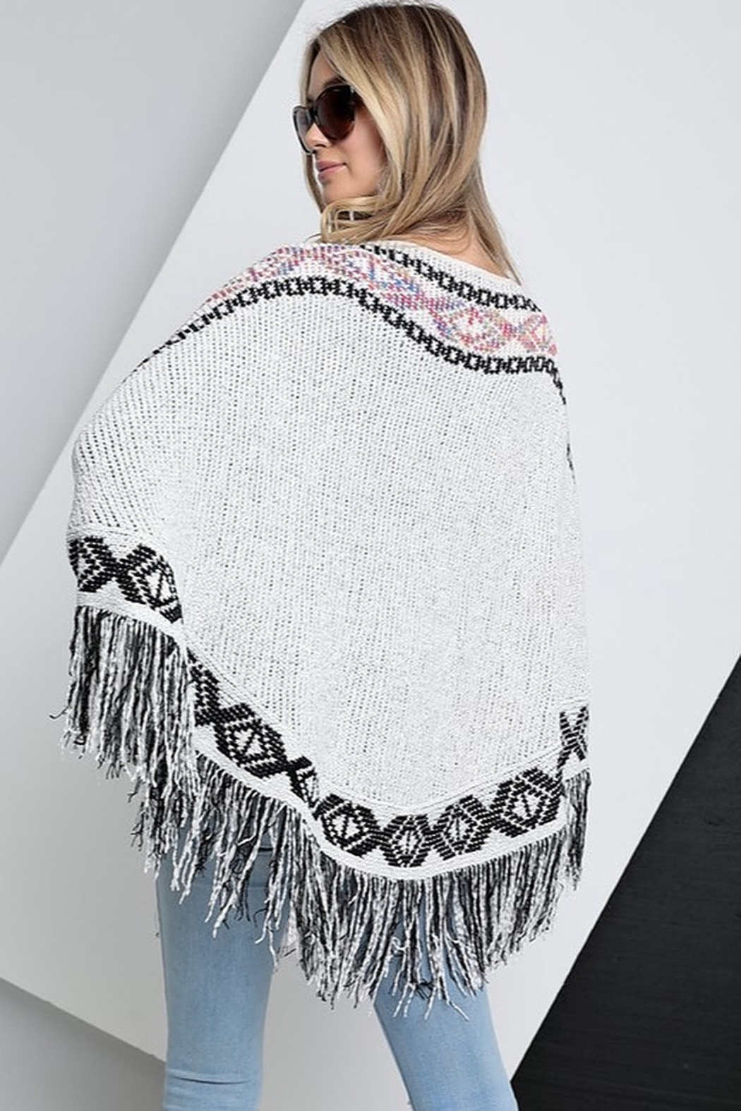 Spotlite Round Neck Fringe Bottom Poncho Top - Side Cropped Image
