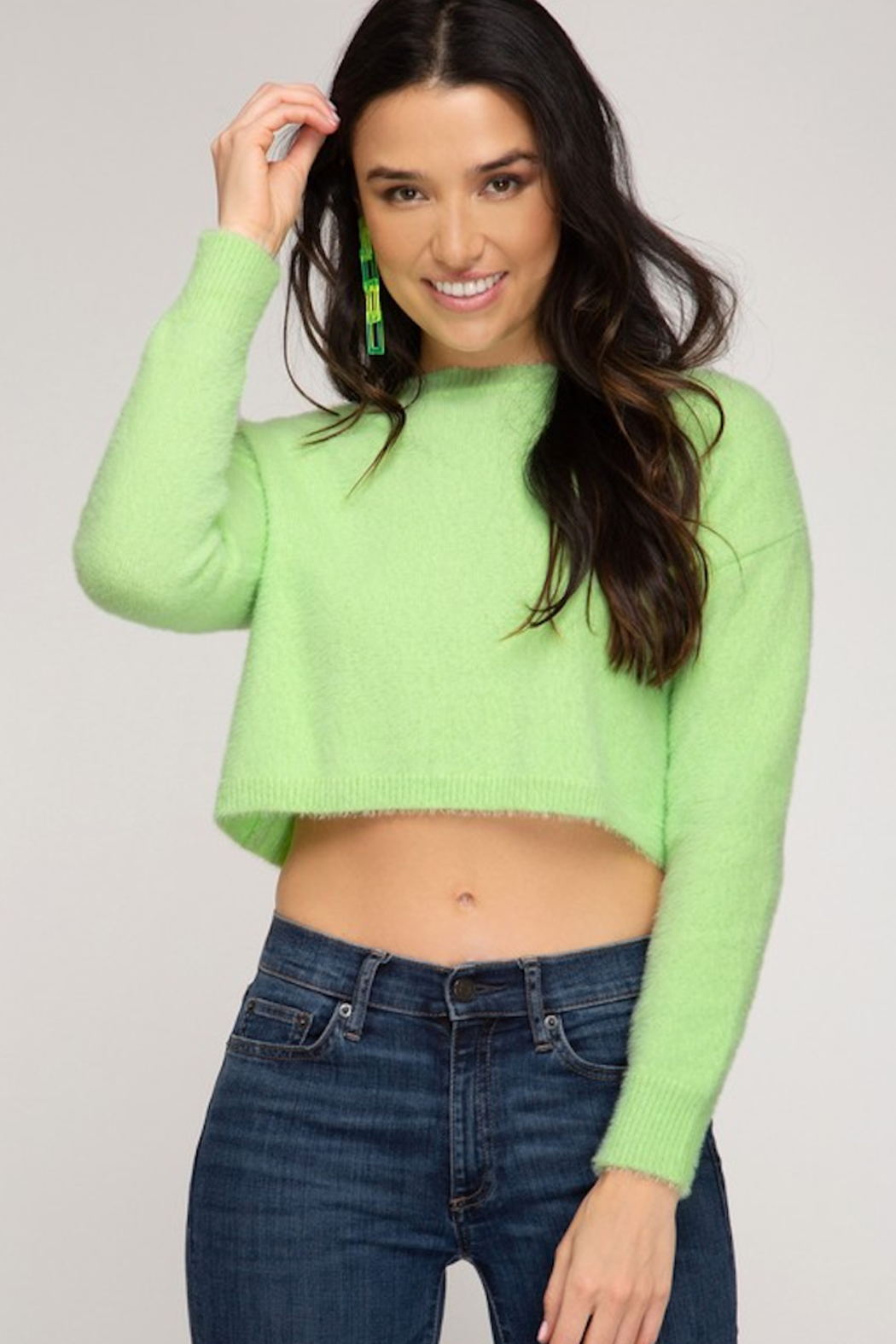 She and Sky Round Neck  L/S Fuzzy Sweater - Front Cropped Image
