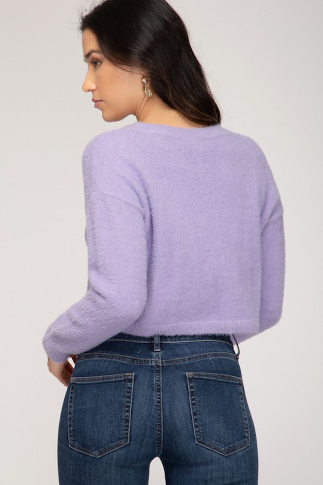 She and Sky Round Neck  L/S Fuzzy Sweater - Main Image