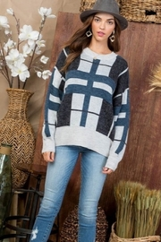 Main Strip Round Neck Long Sleeve Plaid print Sweater - Product Mini Image