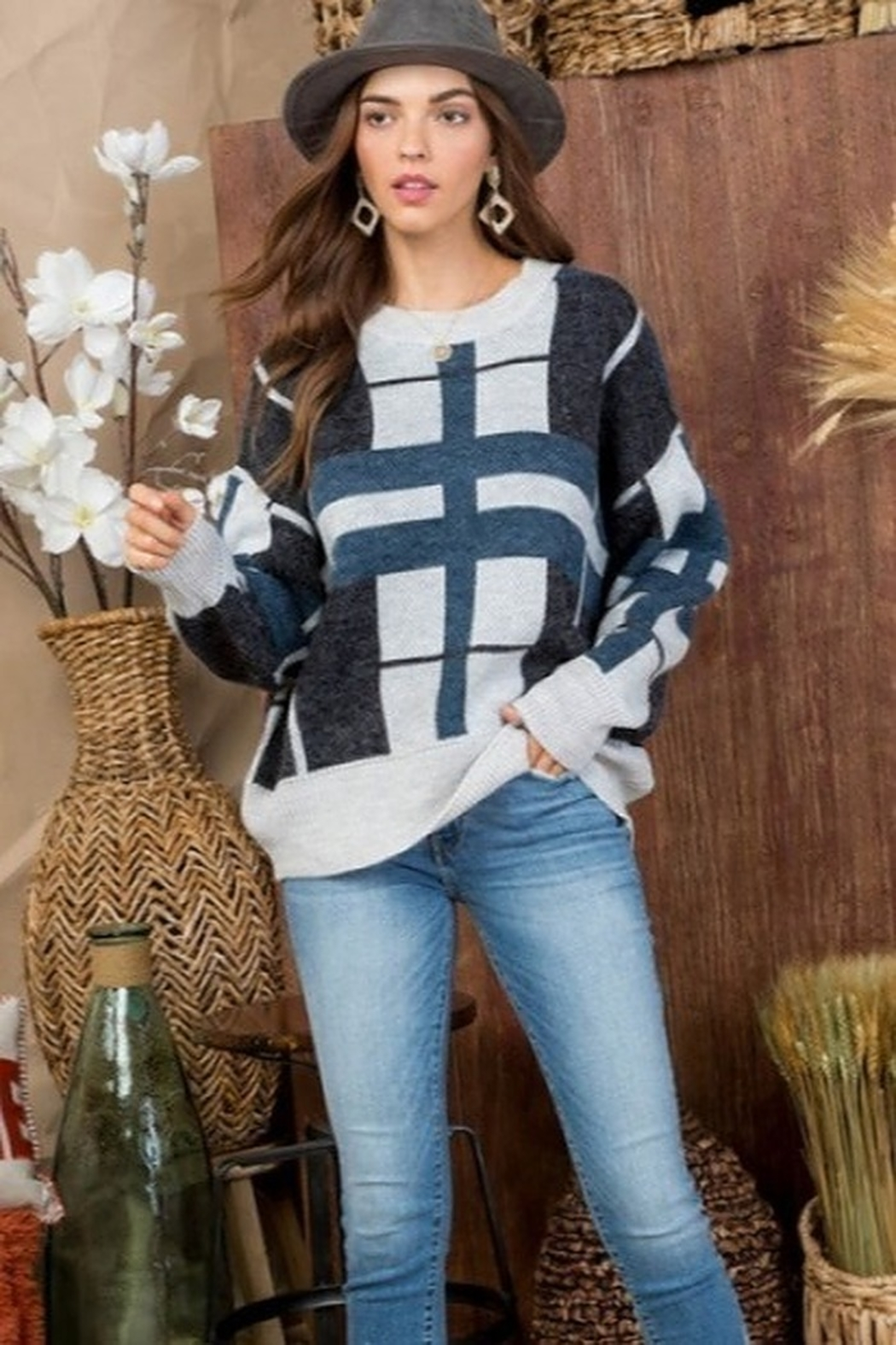 Main Strip Round Neck Long Sleeve Plaid print Sweater - Front Full Image