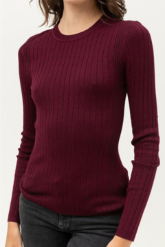 Love Tree Round Neck Ribbed Sweater - Product List Image
