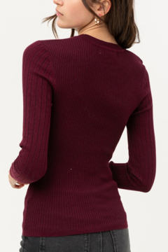 Love Tree Round Neck Ribbed Sweater - Alternate List Image