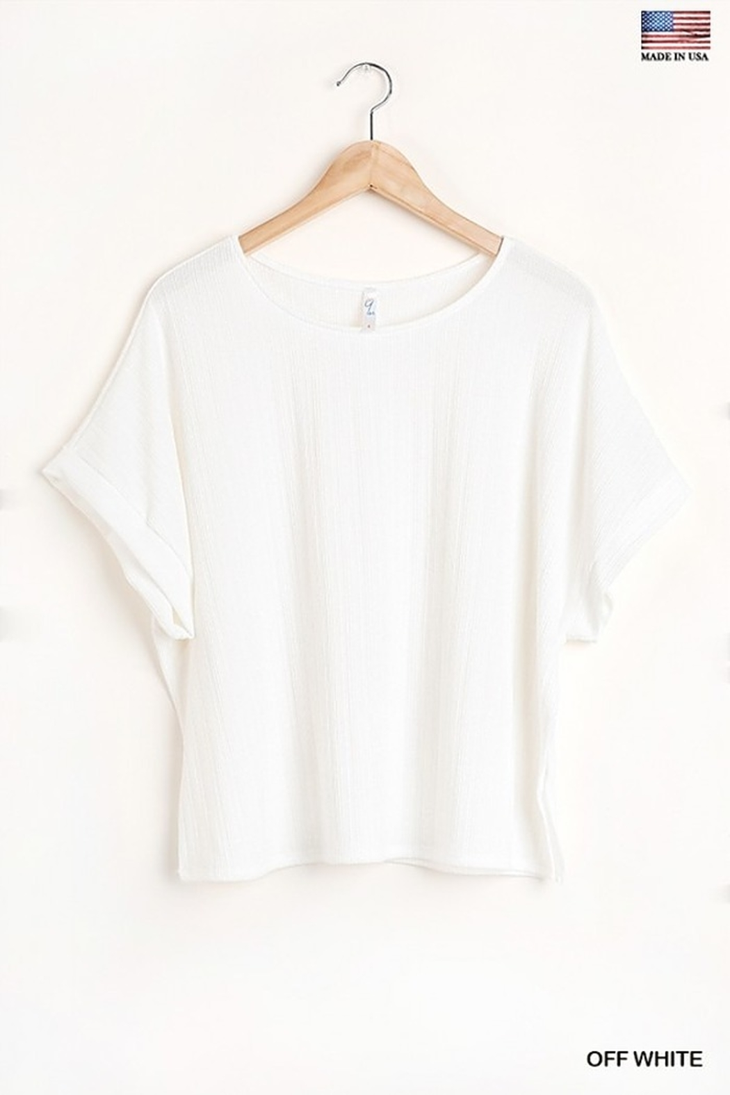 Umgee  Round Neck Short Sleeve Top with Side Slits and Lining Details - Main Image