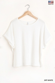Umgee  Round Neck Short Sleeve Top with Side Slits and Lining Details - Front cropped