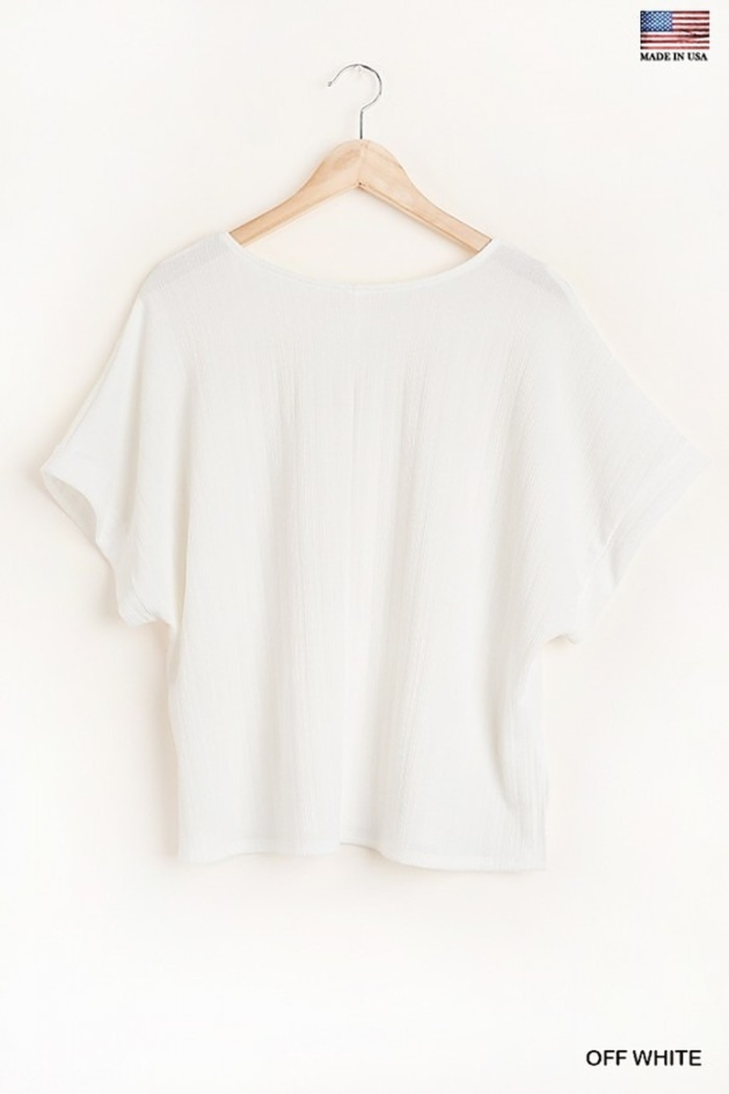 Umgee  Round Neck Short Sleeve Top with Side Slits and Lining Details - Back Cropped Image