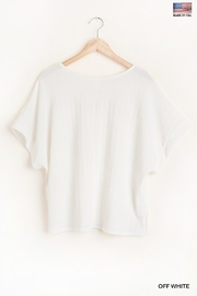Umgee  Round Neck Short Sleeve Top with Side Slits and Lining Details - Back cropped