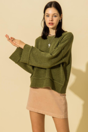 Double Zero Round Neck Wide Sleeve Pullover Sweater - Product Mini Image