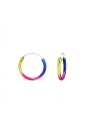 Silver Jewels Round Rainbow Silver Hoops - Front cropped