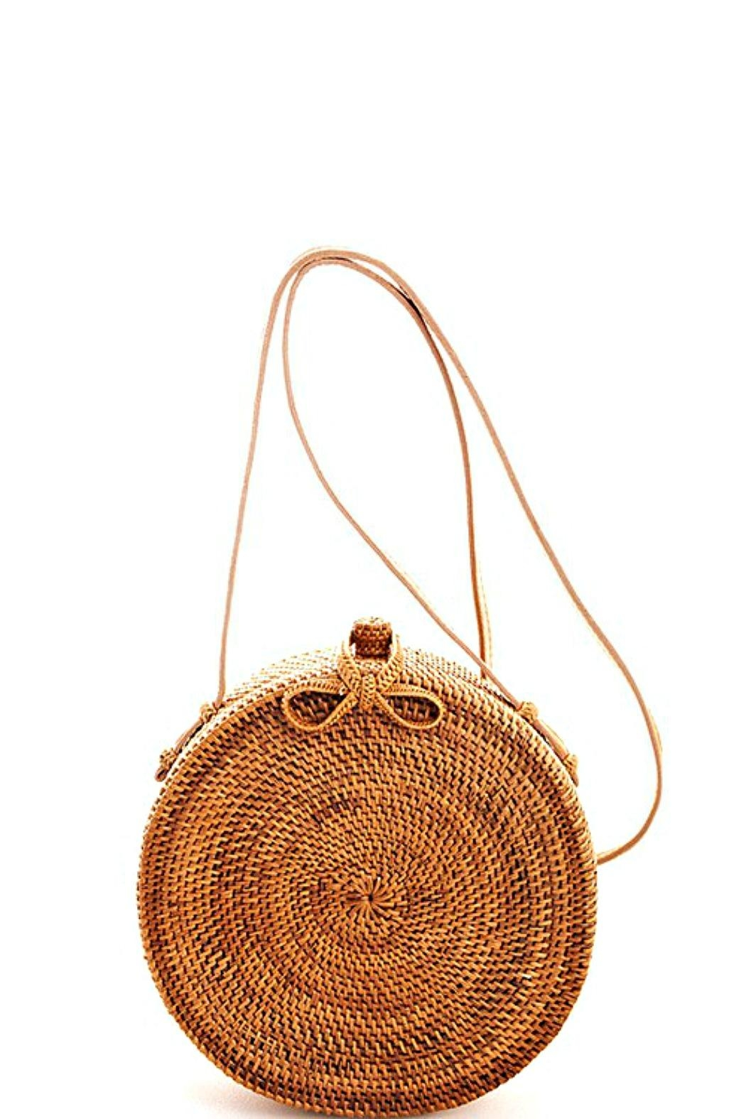 AGP Apparel Round Rattan-Straw Bag - Front Cropped Image