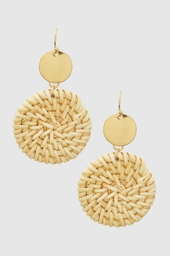 Shoptiques Product: Round Straw Earrings