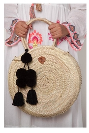 Earthy Chic Round Straw Tote - Product Mini Image