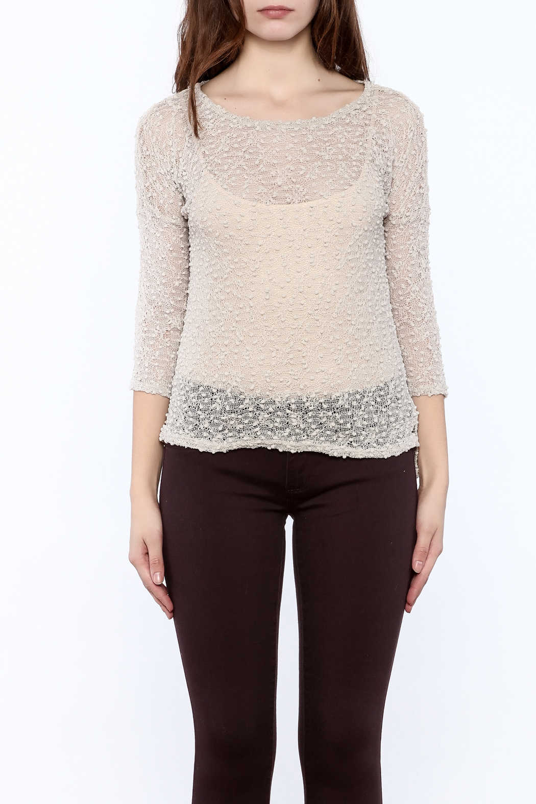 Rousseau Gritty Beige Top - Side Cropped Image