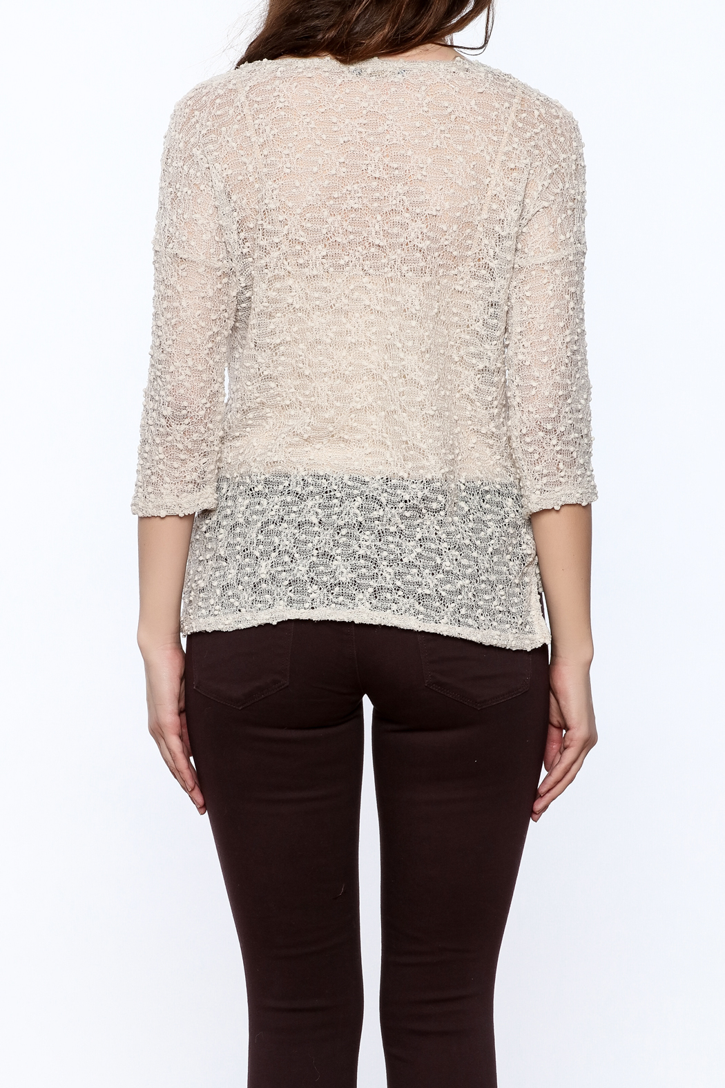 Rousseau Gritty Beige Top - Back Cropped Image