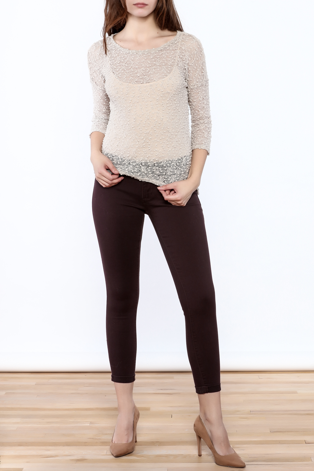 Rousseau Gritty Beige Top - Front Full Image