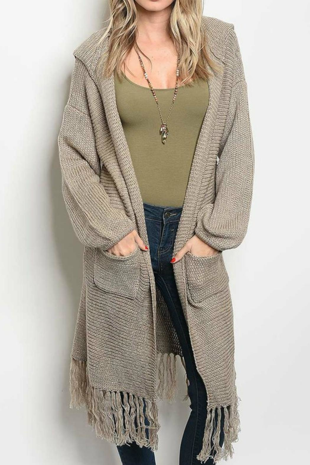 LoveRiche Hooded Fringe Cardigan - Main Image
