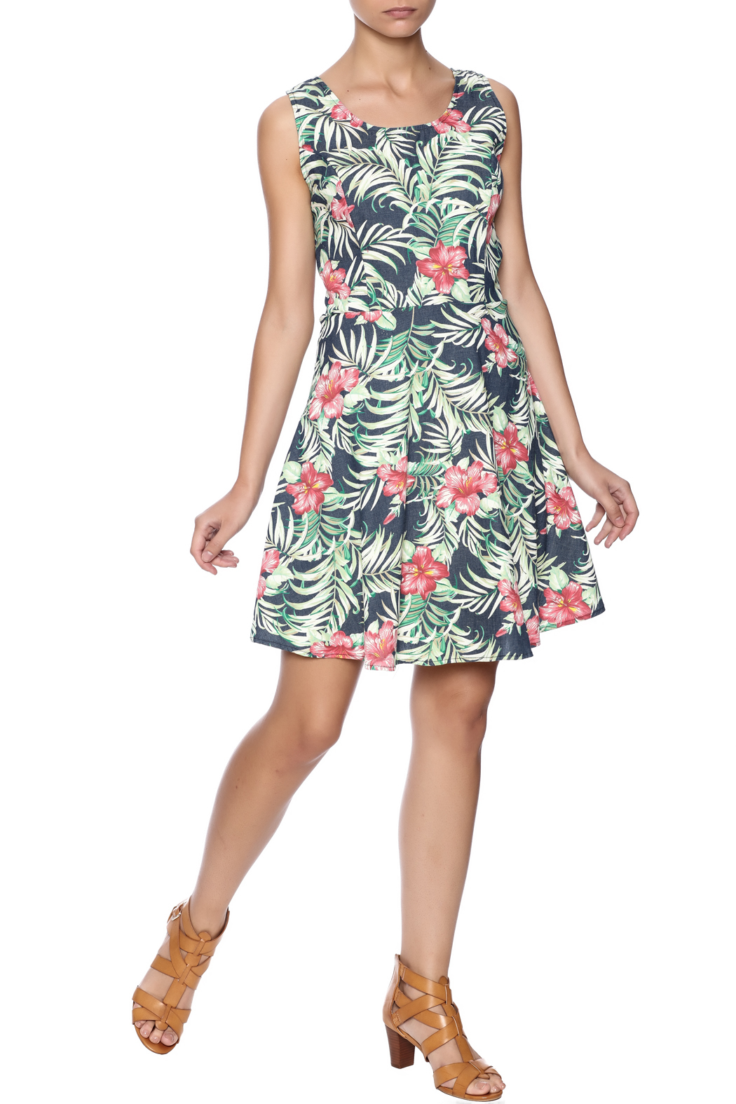 Route 3 Tropicana Chambray Dress - Front Full Image