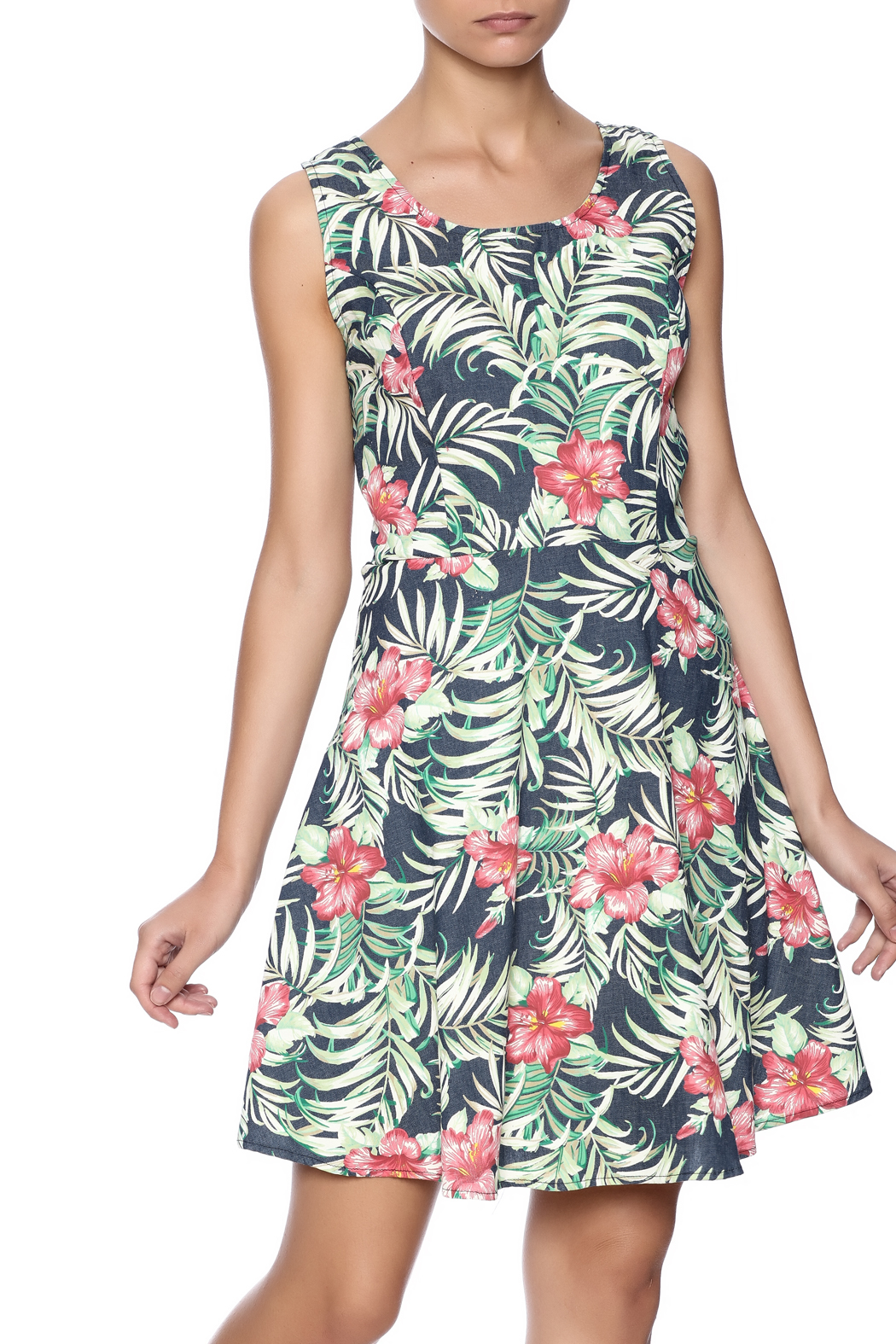 Route 3 Tropicana Chambray Dress - Front Cropped Image