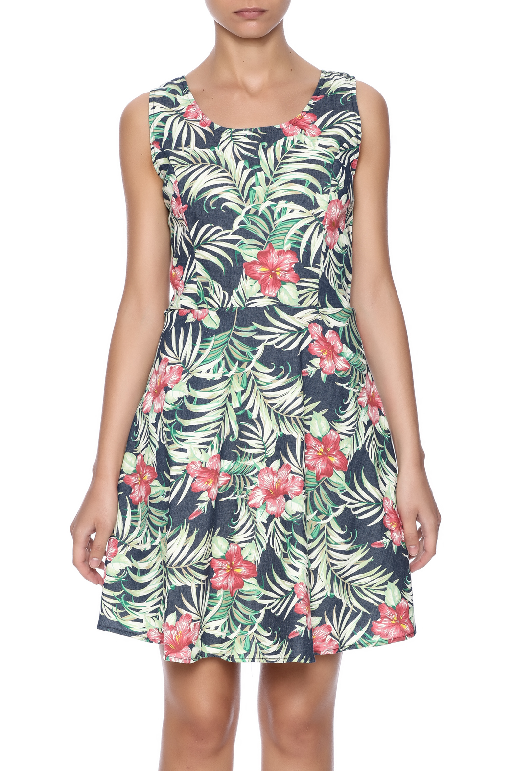 Route 3 Tropicana Chambray Dress - Side Cropped Image