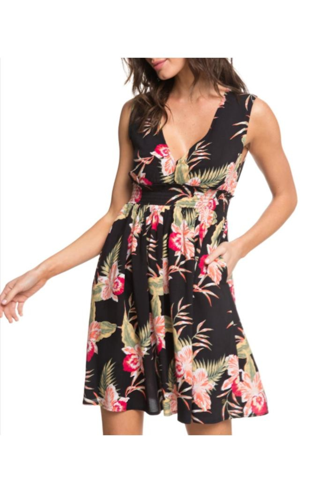 Roxy Floral Keyhole Dress - Main Image