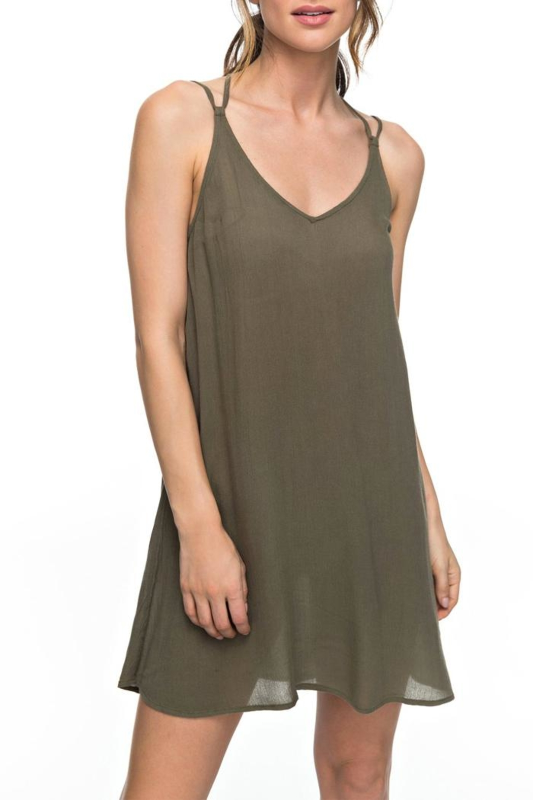 Roxy Green Strappy Dress - Front Cropped Image