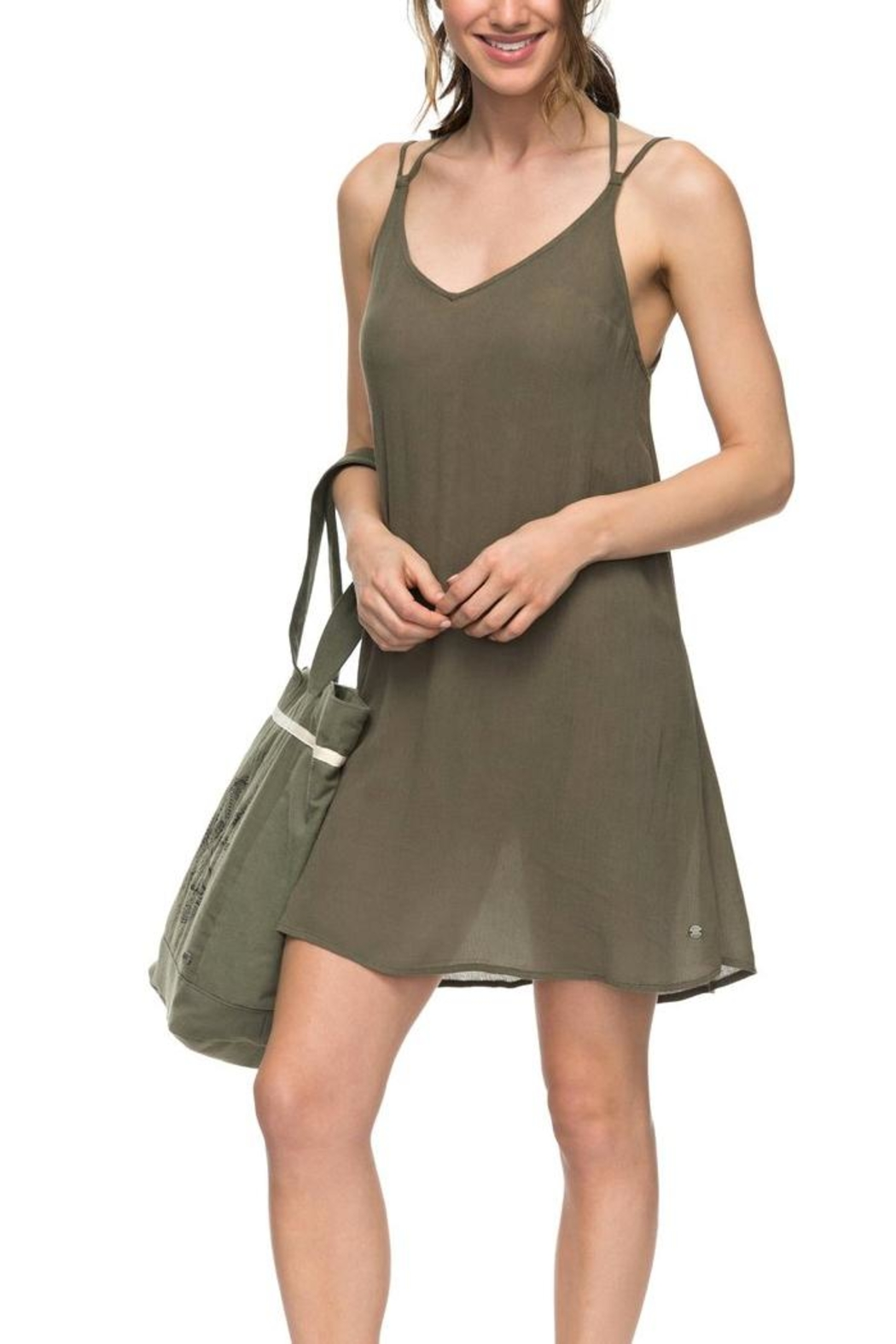 Roxy Green Strappy Dress - Side Cropped Image