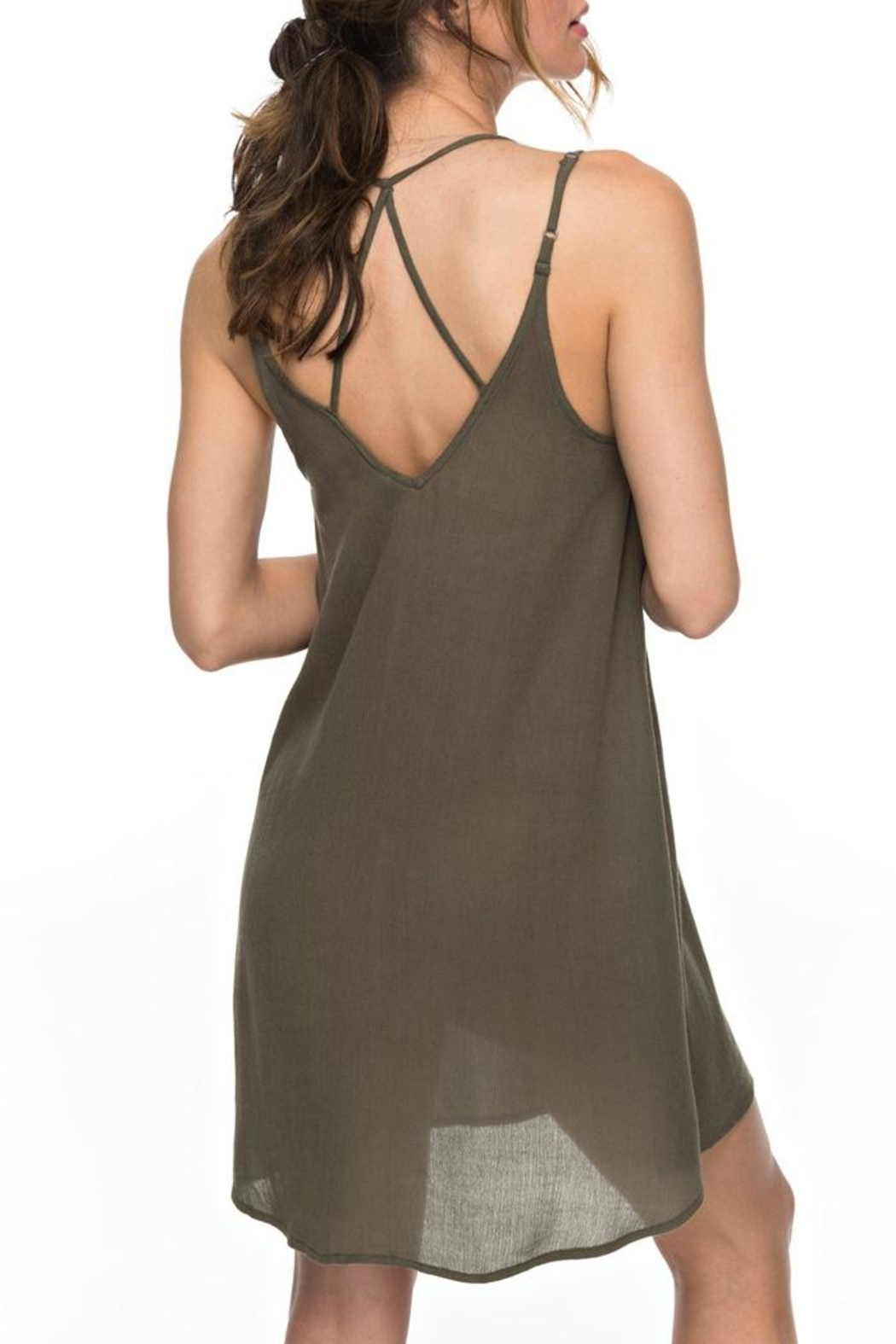 Roxy Green Strappy Dress - Front Full Image