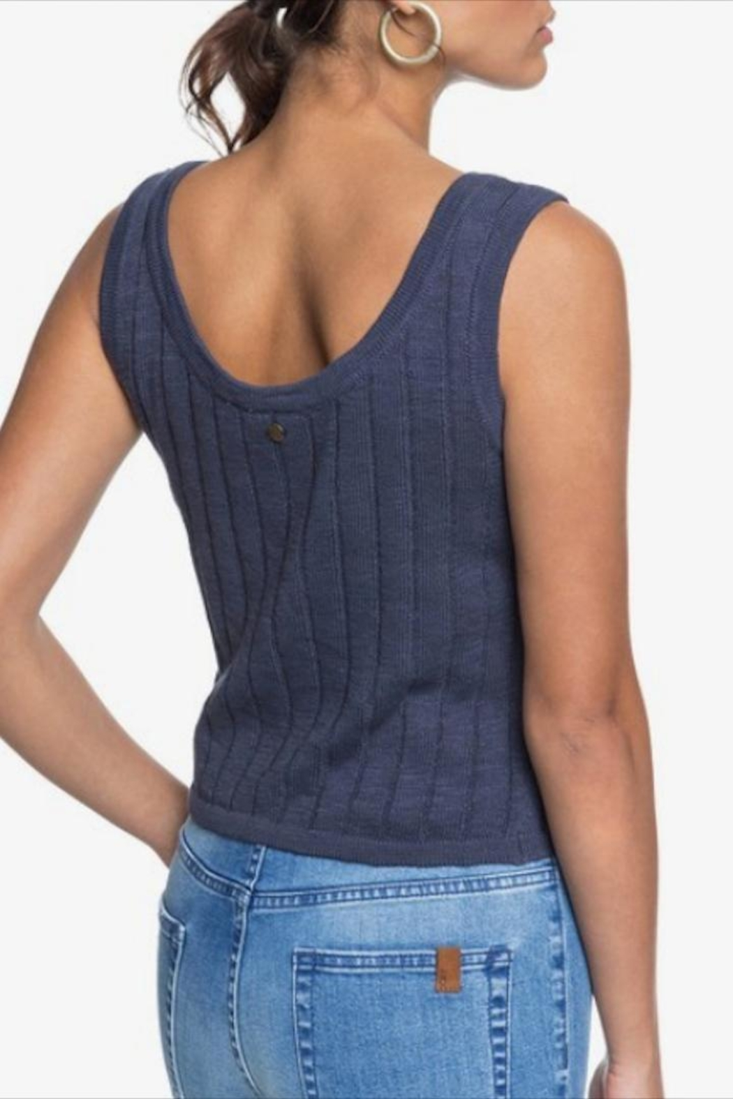 Roxy Knit Button-Front Tank - Back Cropped Image
