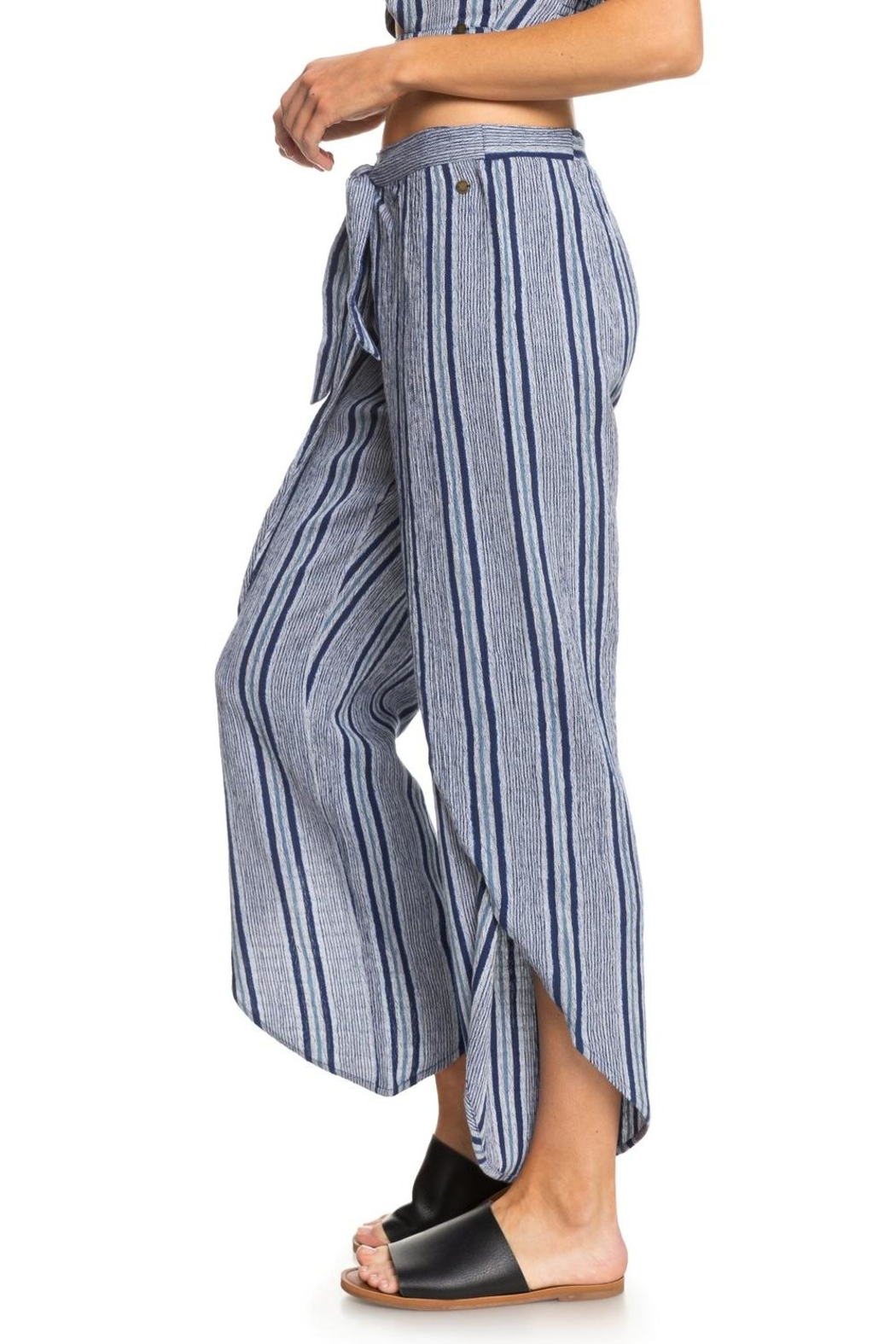 Roxy Striped Faux-Wrap Pants - Front Full Image
