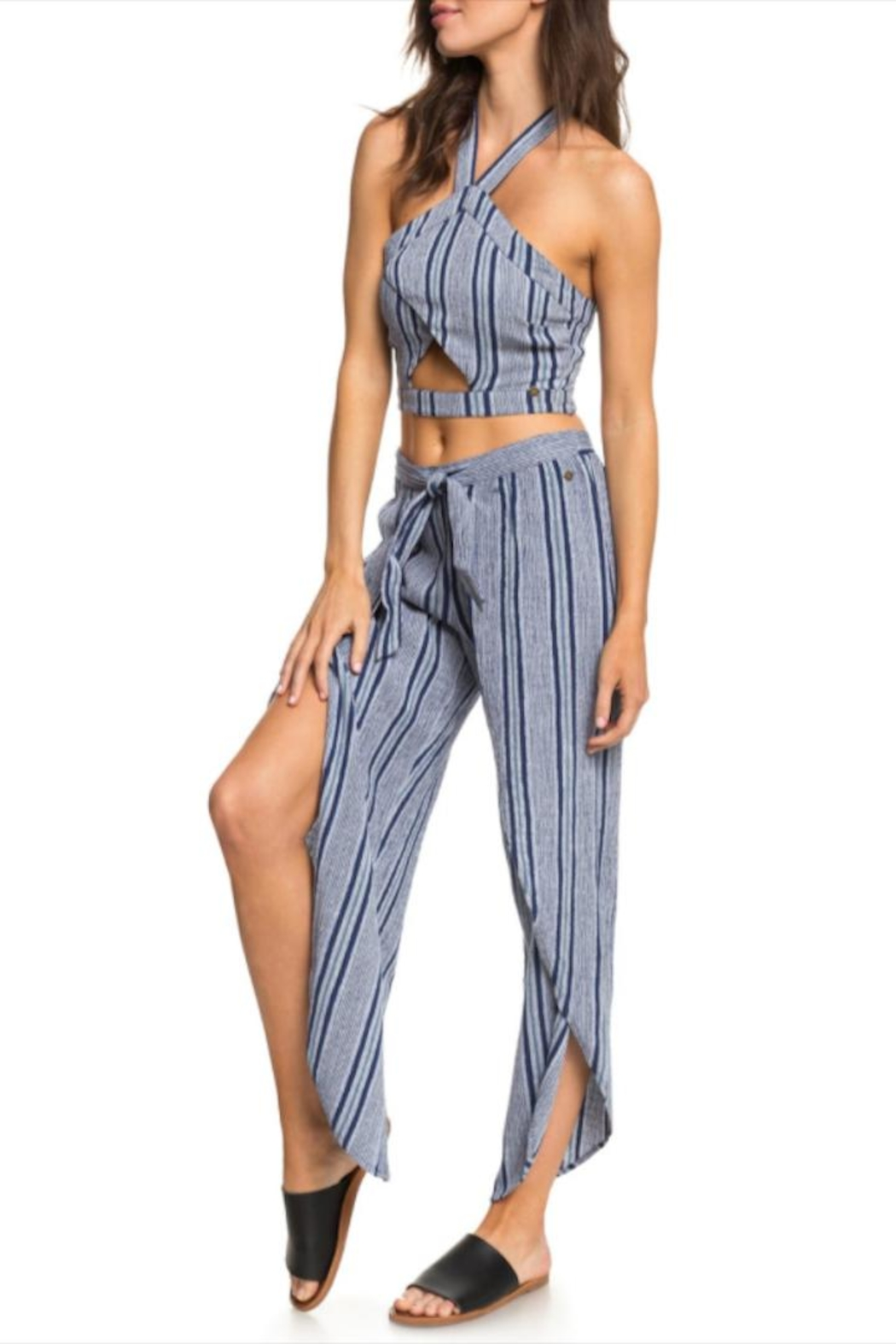 Roxy Striped Faux-Wrap Pants - Front Cropped Image