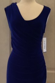 Joseph Ribkoff royal blue fitted dress with draped neckline - Product Mini Image