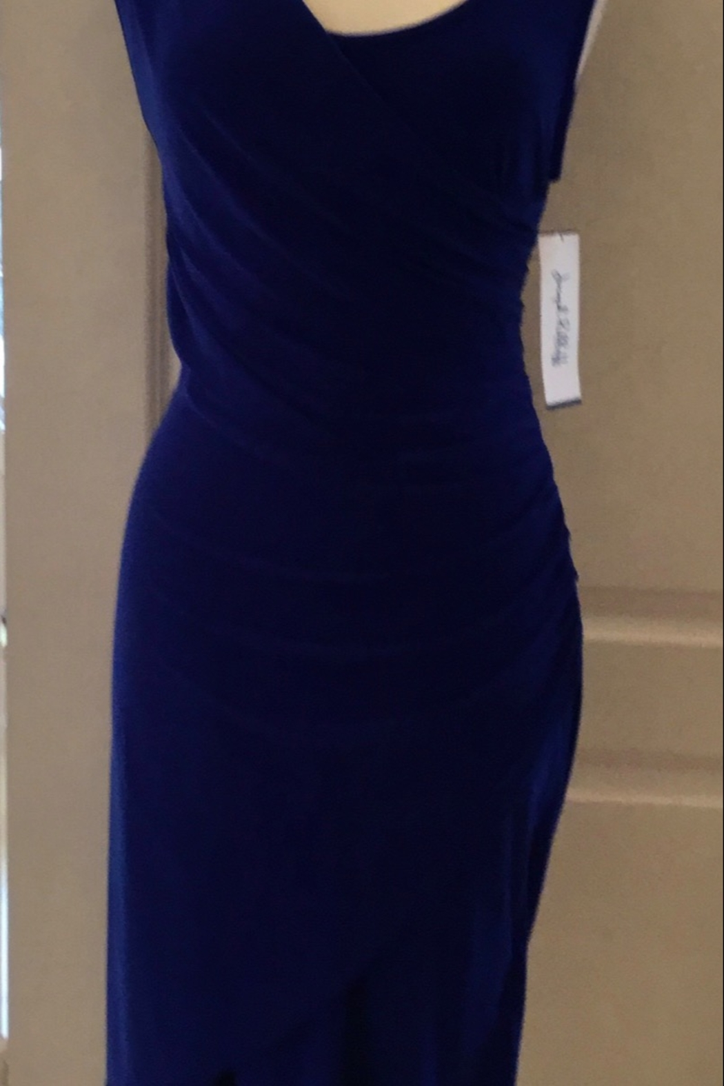 Joseph Ribkoff royal blue fitted dress with draped neckline - Front Full Image