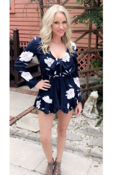 L'atiste Royal Blue Floral Romper - Alternate List Image