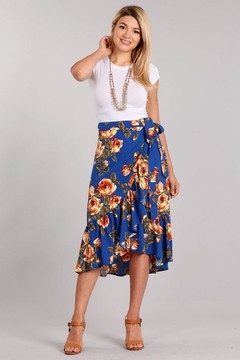 Chris & Carol Royal-Blue Floral Skirt - Alternate List Image
