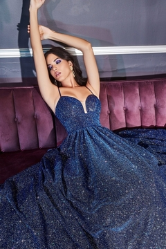 Cinderella Divine Royal Blue Glitter A-Line Ball Gown - Product List Image