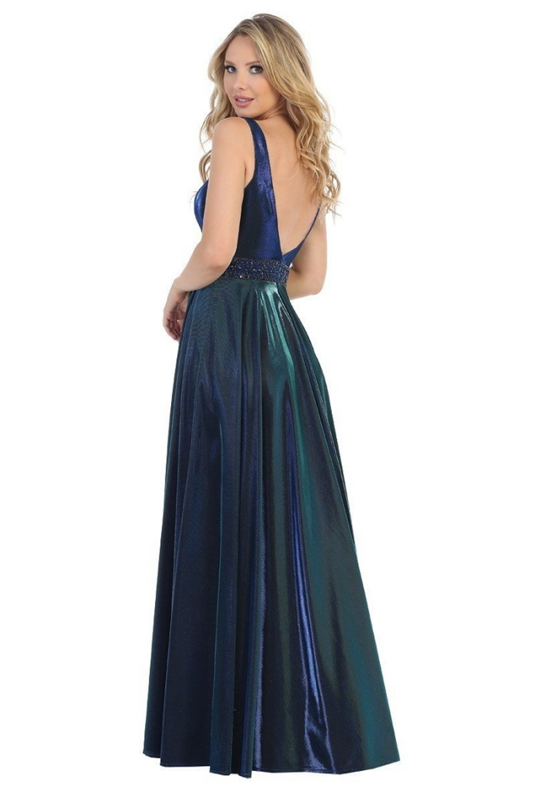 Let's Royal Blue Metallic A-Line Formal Long Dress - Front Full Image