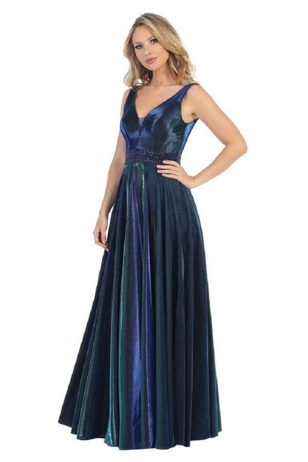 Let's Royal Blue Metallic A-Line Formal Long Dress - Main Image