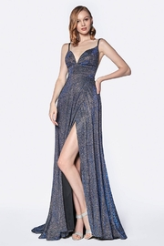Cinderella Divine Royal Blue Metallic Patterned Long Formal Dress - Product Mini Image