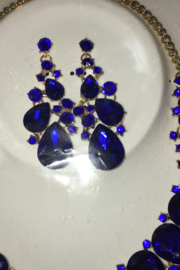 Encour Culture Royal Blue Rhinestone Diva Necklace Set - Front full body