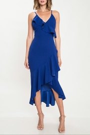 Latiste Royal-Blue Ruffle Dress - Front cropped