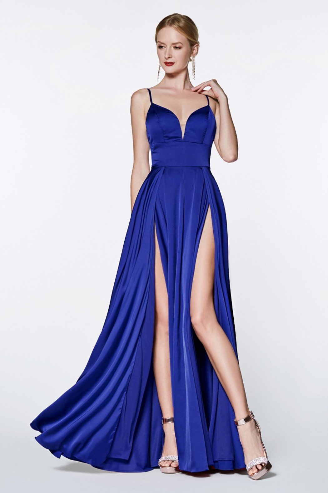 Cinderella Divine Royal Blue Satin Long Formal Dress - Main Image