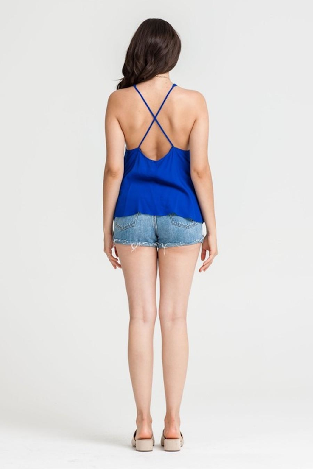 Lush Royal-Blue Strappy Top - Back Cropped Image